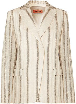 Missoni Metallic Striped Crochet-knit Blazer