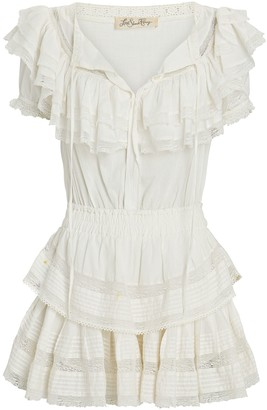LoveShackFancy Liv Ruffled Cotton Mini Dress
