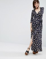 Goldie Great Lengths Floral Long Sleeved Maxi Dress With Leg Split