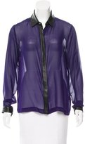 Robert Rodriguez Silk Leather-Accented Top