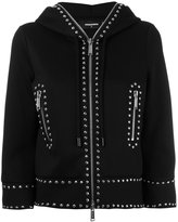 DSQUARED2 cropped studded hoodie - women - Polyurethane/Viscose - XS