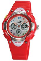 Jewtme High Quality Water Resistant Boys Girls Watch Dual Time Unisex Child Outdoor Sport Watch Red