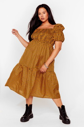 Nasty Gal Womens Plus Size Puff Sleeve Check Midi Smock Dress - Yellow - 16