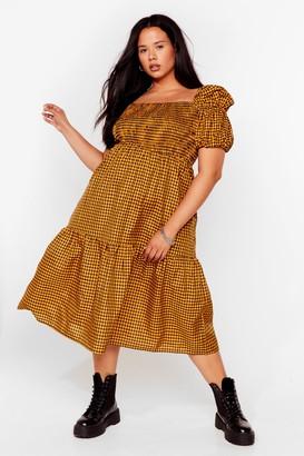 Nasty Gal Womens Plus Size Puff Sleeve Check Midi Smock Dress - Yellow