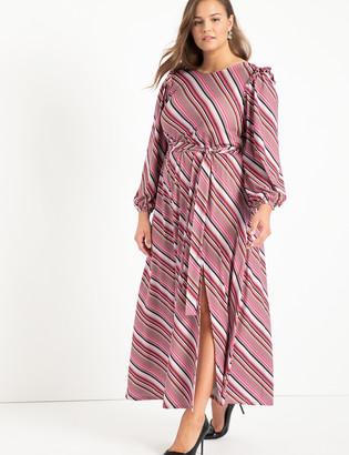 ELOQUII Boat Neck Maxi Dress With Ruffle