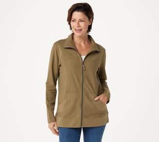 Denim & Co. Active Slub French Terry Zip-Front Long Sleeve Jacket