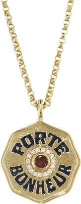 Marlo Laz Mini Garnet, Diamond, and Navy Enamel Porte Bonheur Coin 18 Inch Necklace - Yellow Gold