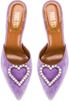 Paris Texas Crystal and Suede Stiletto Mule in Lilac | FWRD