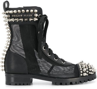 Philipp Plein Studded 35mm Lace-Up Boots