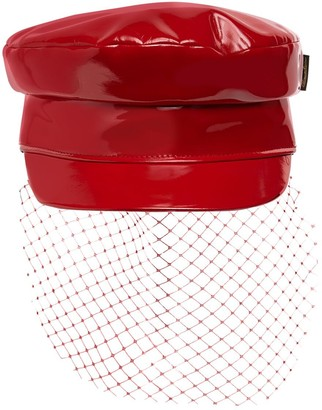 Borsalino Patent Faux Leather Sailor Hat W/ Veil