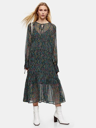 Topshop Petite Ditsy Chuckon Midi Dress - Multi