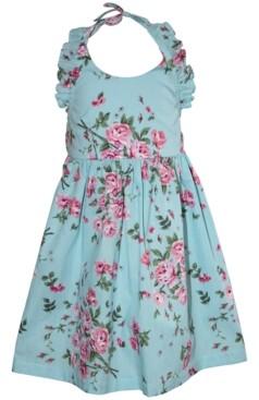Blueberi Boulevard Little Girls Floral Halter Dress