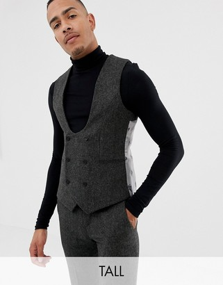 Twisted Tailor super skinny suit vest in charcoal donegal tweed
