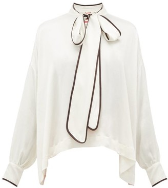 F.R.S For Restless Sleepers Alethia Pussy-bow Hammered-silk Blouse - White Multi