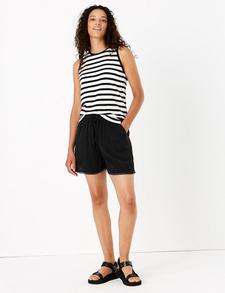 Marks and Spencer Textured High Waisted Drawstring Shorts