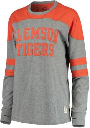 Women's Pressbox Heathered Gray/Orange Clemson Tigers Peyton Sleeve Stripe Applique Long Sleeve T-Shirt