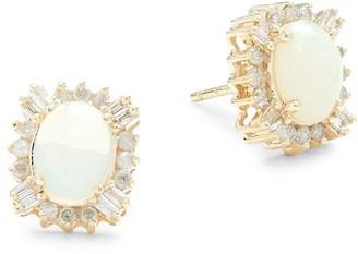 Saks Fifth Avenue 14K Yellow Gold, Opal & Diamond Stud Earrings