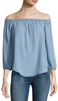 Splendid Off-the-Shoulder Chambray Top, Light Blue