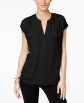INC International Concepts Petite Mixed-Media Utility Shirt, Created for Macy's
