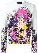 DSQUARED2 graffiti print cartoon sweatshirt