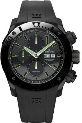 Edox Men's 01114 37N NV Class 1 Automatic Chronograph Black PVD Rubber Watch