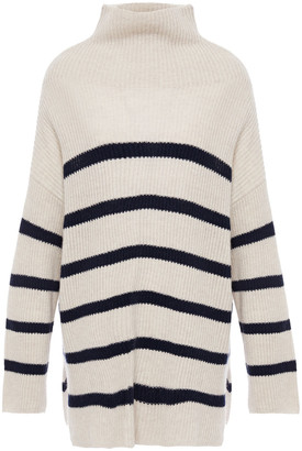 Autumn Cashmere Striped Ribbed Cashmere Turtleneck Sweater