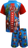 Marvel Avengers Little Boys Multi Color Character Printed 2pc Pajama Short Set