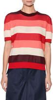 Marni Crewneck Short-Sleeve Striped Cotton Knit Top