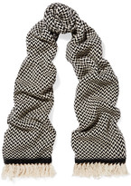 Etoile Isabel Marant Alena Herringbone Wool And Cashmere-blend Scarf - Black