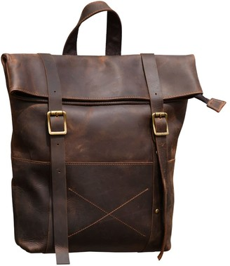 Touri Straps Detail Genuine Leather Backpack In Worn Look Brown