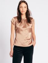 Marks and Spencer Pleat Front Satin Cap Sleeve Shell Top