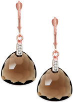 Macy's Smoky Quartz (12-5/8 ct. t.w.) and Diamond Accent Earrings in 14k Rose Gold