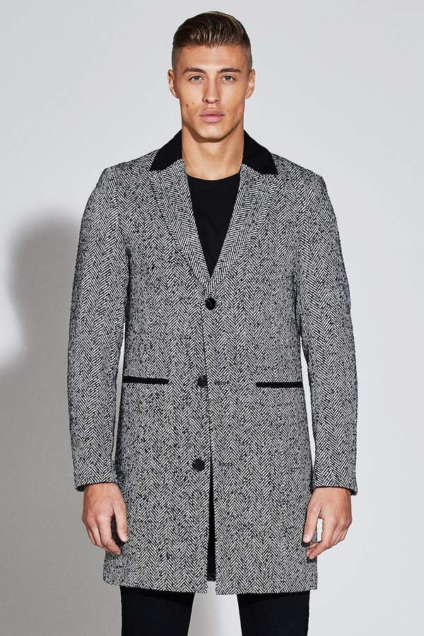 boohoo Premium Wool Mix Overcoat With Faux Suede Collar