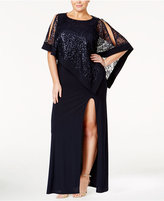 R & M Richards R&M Richards Plus Size Sequin-Overlay Gown