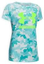 Under Armour Girls' Big Logo Camouflage-Print Tech Tee - Big Kid