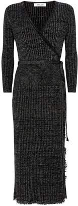 Diane von Furstenberg Metallic Wrap Bobbi Dress