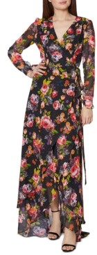 Betsey Johnson Floral-Print Wrap Maxi Dress