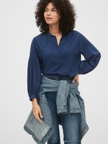 Gap 1969 Premium Shirred Denim Popover Shirt