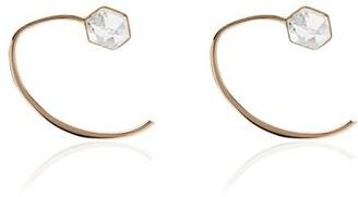 Melissa Joy Manning Herkimer Mini Wishbone 14K yellow gold crystal huggie earrings