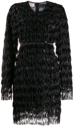 Giamba V-neck feather embellished dress
