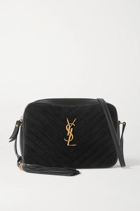 Saint Laurent Lou Quilted Suede And Leather Shoulder Bag - Black