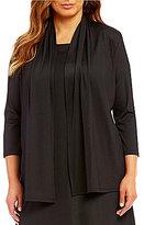 Kasper Plus Knit Concepts 3/4-Sleeve Cardigan Jacket