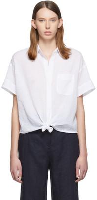 Rag & Bone White Lenny Tie Short Sleeve Shirt