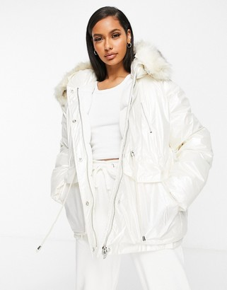 Sixth June oversized vinyl puffer jacket with faux- fur hood