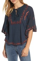 Lucky Brand Women's Embroidered Lace Up Peasant Top