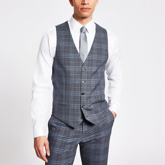 River Island Blue check single breasted suit waistcoat