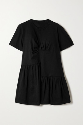 Marques Almeida Rem'ade By Oversized Paneled Gathered Cotton-jersey Mini Dress - Black