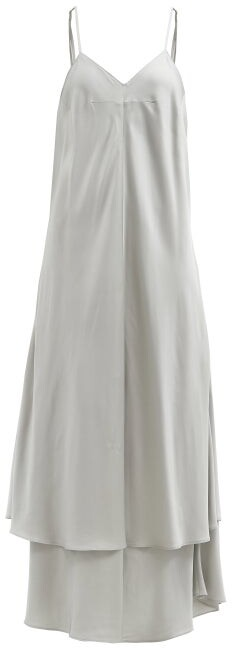 MM6 MAISON MARGIELA Tiered-hem Twill Trapeze Dress - Light Grey