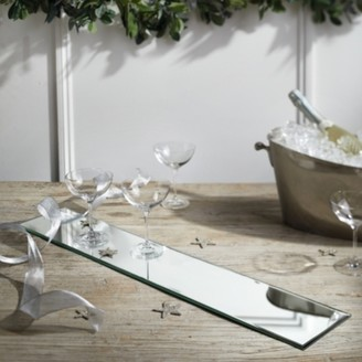 The White Company Extra-Long Rectangular Mirrored Charger, Silver, One Size