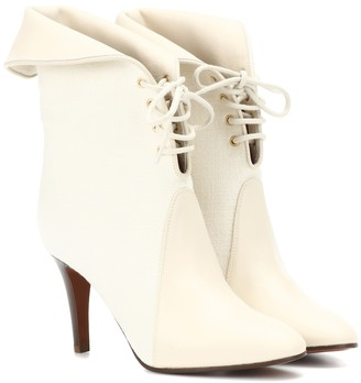 Chloã© Kole canvas and leather ankle boots